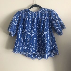 Royal blue, embroidered cropped blouse